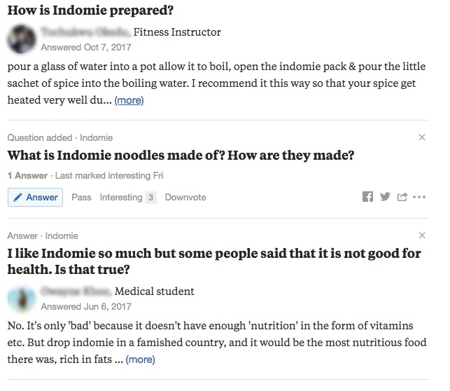 Quora questions for Indomie