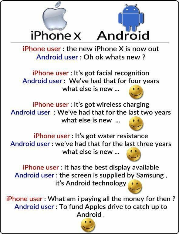 iPhone X vs Android Meme